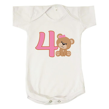 Body Bebê Infantil Menina Mesversário Ursa 4 Meses