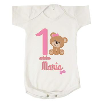 Body Bebê Mesversário Personalizado Maria Ursa Rosa