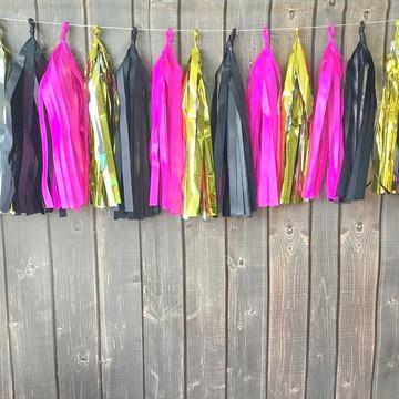 Cordão de Franjas Festa Pink e Preto GOLD Pronta Entrega