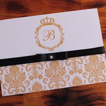 Convite 15 anos dourado preto fita barato promoção casamento