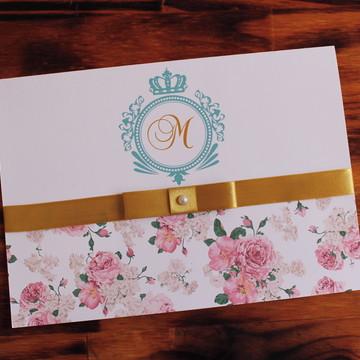 Convite 15 anos floral fita dourado delicado Casamento