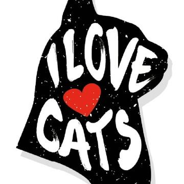 Placa Recortada MDF I Love Cats Gatos Amor PET Coração