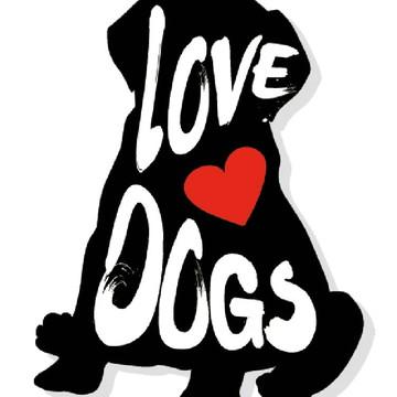 Placa Recortada MDF Love Dogs Coração Amor PET