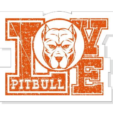 Placa Recortada MDF I Love Pitbull Cachorros PET Amor