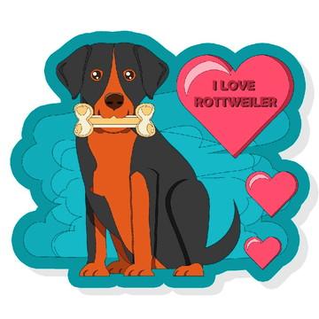 Placa Recortada MDF Rottweiler Pet Cachorros Corações Amor