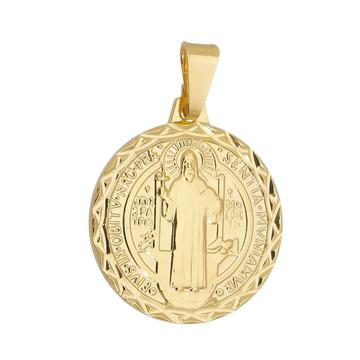 Pingente Medalha de São Bento Dourada Semi Joia