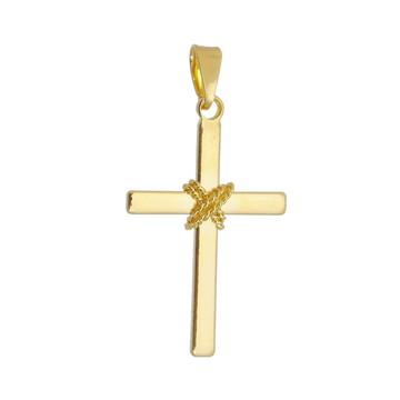 Pingente Crucifixo Nó Dourado Semi Joia