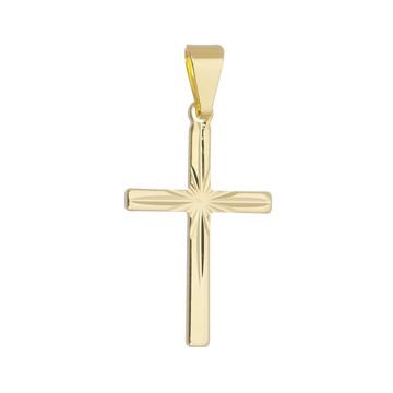 Pingente Crucifixo Jateado Folheado Em Ouro 18k