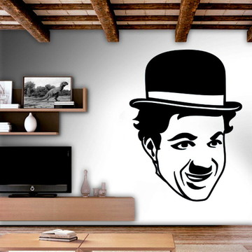 Adesivo Parede Decoração Rosto Charles Chaplin