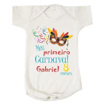 Body Bebê Meu Primeiro Carnaval 8 Meses Personalizado