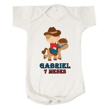 Body Bebê Upa Cavalinho Gabriel 7 Meses Personalizado
