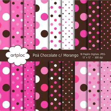 Papel Digital Chocolate com Morango