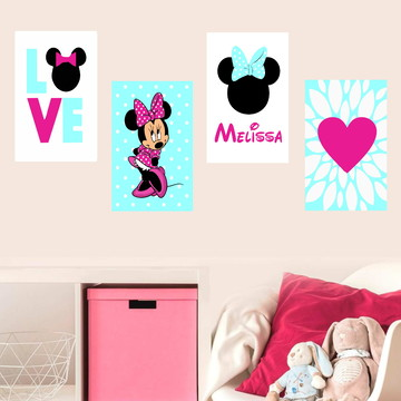 Kit Minnie - 4 Placas Decorativas