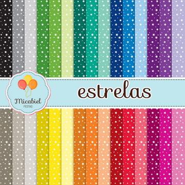 Papel Digital - Estrelas (30 cores)