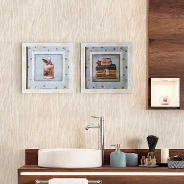 Dupla de Quadros Vintage para Banheiro com Moldura e Vidro