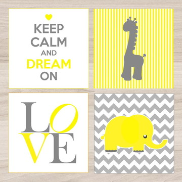 KIt Quadro Infantil - Keep Calm Love Girafa Elefante