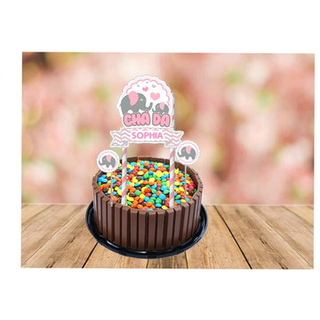 topo de bolo elefante rosa