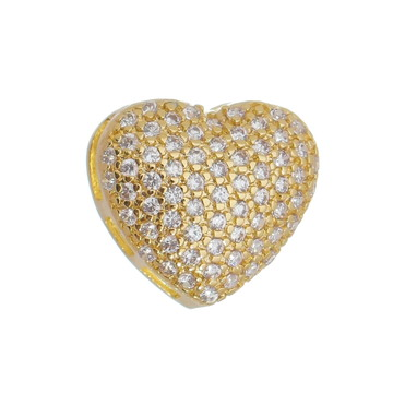 Pingente Coração Cravejado de Zircônias Cristal Semi Joia