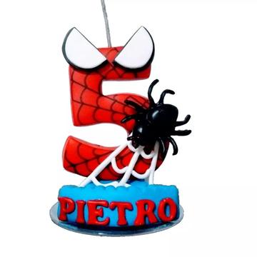 Vela De Aniversario Homem Aranha Personalizada
