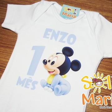 Body Personalizado Mesversário Mickey