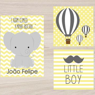 Kit Quadro Infantil - Elefantinho Little Boy Balões