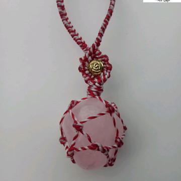 Colar macramê quartzo rosa
