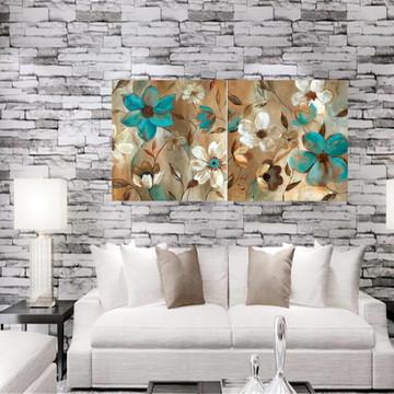 Duo Quadro -Pôster Flores Brancas e Azul Turquesa ***