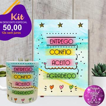 Kit Placa Decorativa + Caneca Entrego,confio,aceito,agradeço