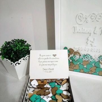 Quadro assinaturas casamento com 150 corações+ cx de mensage