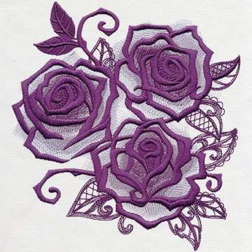 Matriz Bordado Rosas Roxas