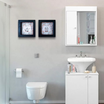 Dupla de Quadros Pretos para Banheiro com Moldura e Vidro