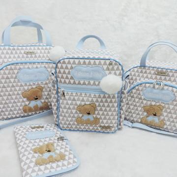 Kit Maternidade Ursinho Cinza e Azul