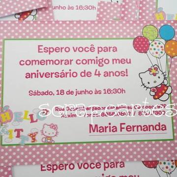 Convite de aniversário Hello Kitty