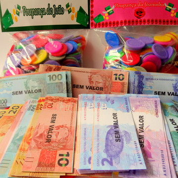 Kit 200 Mini Dinheiro+200 Mini Moedas c/solapa personalizada