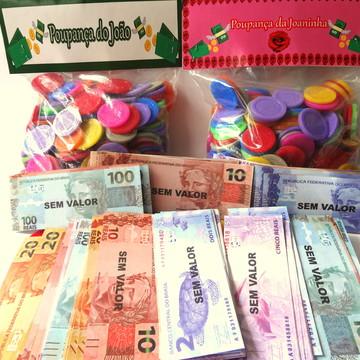 Kit 500 Mini Dinheiro + 500 Mini Moedas c/ solapa