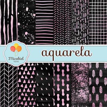 Papel Digital - Aquarela (preto e rosa)