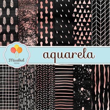 Papel Digital - Aquarela (preto e rose)