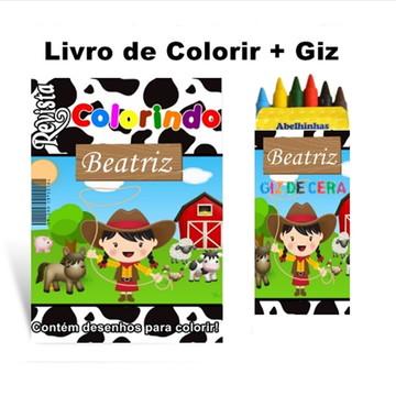 Livro de Colorir Fazendinha + Giz de Cera