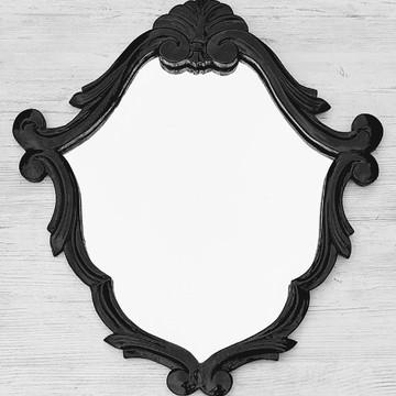 Espelho Decorativo Vintage Barrock Preto Laca