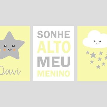 Kit Quadro Infantil - Estrela Davi Sonhe Chuva de Estrelas