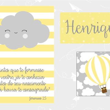 Kit Quadro Infantil - Nuvem Versículo Nome Balão