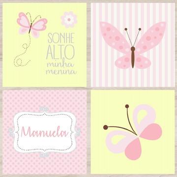Kit Quadro Infantil - Borboletas Amarelo Rosa