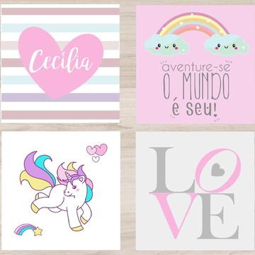 Kit Quadro Infantil - Nome no Coração Arco Iris Unicornio