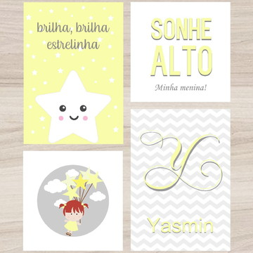 Kit Quadro Infantil - Brilha Brilha Estrelinha Sonhe Alto