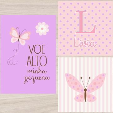 Kit Quadro Infantil - Voe Alto Letra com Nome Borboleta