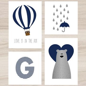Kit Quadro Infantil - Balão Urso Chuva de Amor Letra