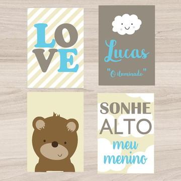 Kit Quadro Infantil - Love Nuvem com Nome Sonhe Alto Urso