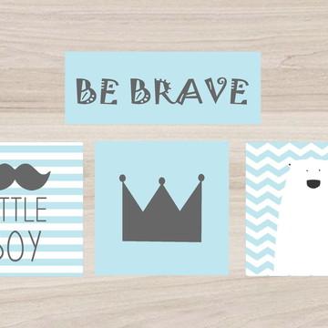 Kit Quadro Infantil - Be Brave Little Boy Coroa Urso Polar