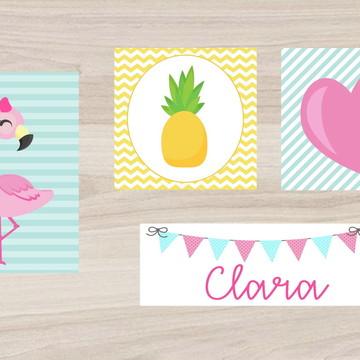 Kit Quadro Infantil - Flamingo Abacaxi Coração Nome