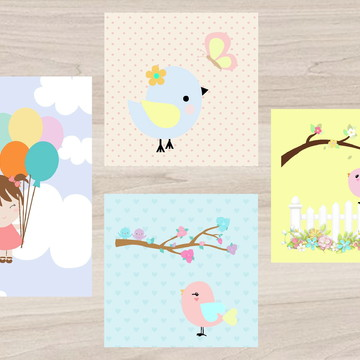 Kit Quadro Infantil - Menina com balões passarinhos